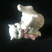 Vintage Fitz and Floyd Essentials Tumbling Kitten Figurine Ribbon and Roses