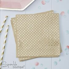 KRAFT PAPER NAPKINS x 20 - Brown with Gold Foiled Spotty/Polka Dot Design -Party