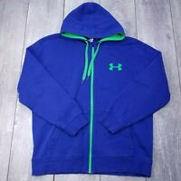 Under Armour UA Rival Hoodie Mens Large Loose Blue Full Zip Hooded Sweater SW218