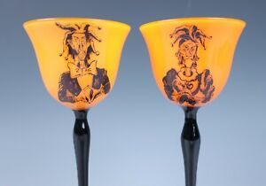 Pair SIGNED Czech Tango Glass Wine Goblet UNUSUAL JESTER IMAGES Antique Bohemian