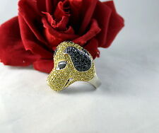 Sterling Silver Huge Sparkling Spotted Dog Puppy Ring Size 7.5  25g  CAT RESCUE