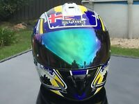 Patriot Australian Flag Motorbike Full Face Road Helmet Yamaha Blue