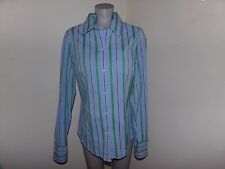 AMERICAN EAGLE Striped Button Shirt Blouse Size 12 Blue Pink Purple Grn NWT $39