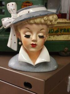 Vintage Napco Japan 1959 Lady Head Vase Pearl Earrings C3959A