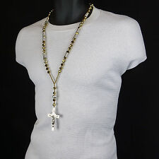 Mens HipHop 8mm SILVER & GOLD Crystal Glass Cut Rosary Jesus Cross COIL Necklace