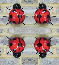4 New Metal Large Garden Ladybird Fence Wall Tree Mounted Ornament Decorations