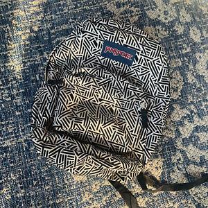 JanSport ~Large SZ Black And White ~Back Pack~ School Book ~Travel Bag ~Unisex