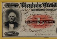 1862 $50 VIRGINIA TREASURY NOTE - PMG 64 CHOICE UNCIRCULATED