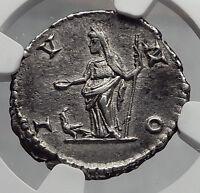 JULIA DOMNA 209AD ROME Authentic Ancient Silver Roman Coin JUNO NGC Ch XF i61902