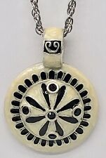 New Cream Colored and Black Enamel Pendant Necklace