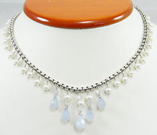 Sterling Blue Chalcedony Briolette Necklace Pearl Crystal Adjustable