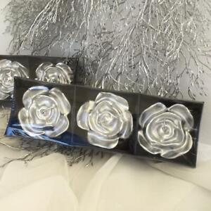 FLOATING CANDLES SILVER  ROSE FLOWER  PACK OF 3