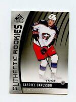 17/18 SP GAME-USED SPGU ROOKIE RC #89 GABRIEL CARLSSON 15/53 BLUE JACKETS