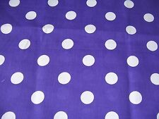 craft fabric  remnant material quilting  1 metre purple poka dot