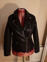 NEWLOOK BLACK Faux Leather PU BIKER JACKET uk12us8eu38 Chest c38ins c96cms