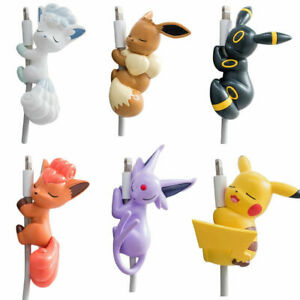 USB Charger Adapter Pikachu Eevee Vulpix Po-emon Bite Data Cable Protector Cover