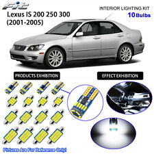10 Bulbs LED Interior Light Kit Cool White For 2001-2005 Lexus IS 200 250 300