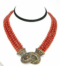 Exclusive Multi Color Necklace With Natural Red Stones & Crystals By Heidi Daus