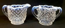 Fenton Art Glass French Opalescent Hobnail Creamer And Sugar
