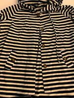 FOR CYNTHIA navy blue striped beach coverup Hooded top tunic XXL