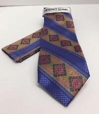 Stacy Adams Men's Tie Hanky Set Blue Gold Green Rust 100% Microfiber Hand Made