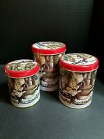 Christmas Tins Set Of 3 Geese Birds Holley With Lids Nested