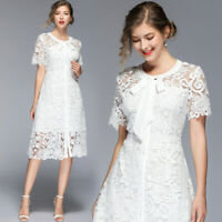 2019 Summer Embroidery Lace Crew Tie Neck Short Sleeve Empire Waist Women Dress