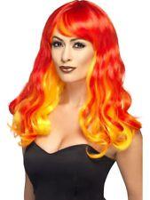 Rojo Sombreado Peluca Llama Diablo Adulto Mujer Disfraz de Halloween Nuevo