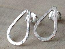 Sterling Silver Hammered Teardrop Handmade Stud Earrings