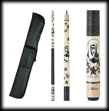 New Action ADV81 Pool Cue Stick - Cream Maple Lady Luck 18 - 21 oz & Case