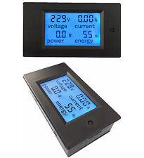 AC 110-220V  LCD 100A watt power meter volt amp Ammeter Voltmeter KWH + Case +CT