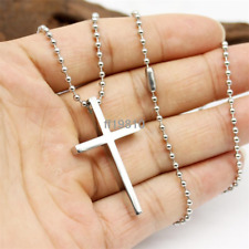 Men Silver 22inch Chain Stainless Steel Silver Cross Pendant Necklace Gift