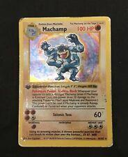 Pokémon machamp 1st edition shadowless holo 1999 worn condition