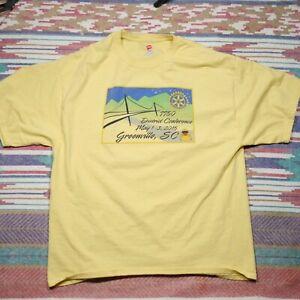 Rotary International Shirt Adult XL Yellow District 7750 Greenville SC Mens