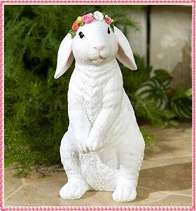 White Bunny Rabbit Garden Statue Sculpture Patio Lawn Home Indoor Outdoor Decor