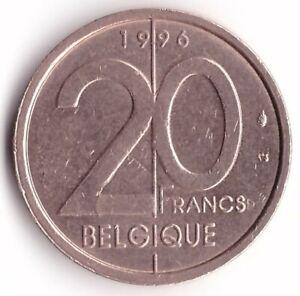 20 Franc 1996 Belgium Coin KM#191 French Text Belgique