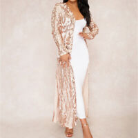 Ladies Women Long Coat Sequin Spring See-Through Sexy Outwear High Quality 2018