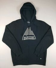 Burton Snowboards Black White Zip Up Hoodie Spell Out Size Medium M Gently Used