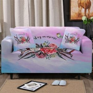 Floral Deer Antler Sofa Chair Couch Cushion Stretch Cover Slipcover Set Decor