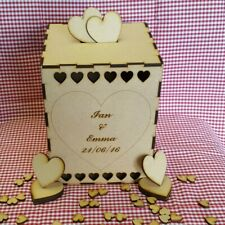 Personalised Wooden Wedding Box guestbook and hearts Gifts POST LETTER ENVELOPE