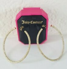 Juicy Couture Large Pave Hoop Earrings Gold Tone With Rhinestones