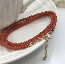 """Undyed Mediterranean Red Coral 14kt Bead Necklace for Antique Pendants, 16-18"""""""