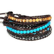 5 wrap Natural turquoise hematite stone genuine leather beads women men bracelet
