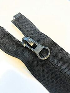 Black Nylon No.5 Reverse Type Zip with Autolock Thumb Puller Open & Closed End