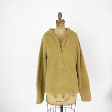 Sahalie Fuzzy Knit Sweater Fleece 3/4 Zip Hooded Pullover Long Sleeve Top XL
