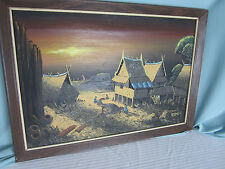 Original Oil PaintingThailand Scene Houses Boats People Signed Artist 22 x15