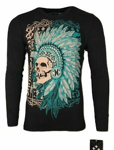 Xtreme Couture by AFFLICTION Men's THERMAL T-Shirt FIGHTER PRIDE Biker MMA