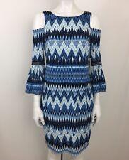 Eliza J Women's Cold Shoulder Zigzag Print Bell Sleeve Dress Size 8