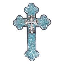 Western Style Wall Cross Iron Fleur De Lis Turquoise Broken Glass Texture Resin