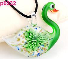 Lifelike Swan Flower art glass beaded pendant necklace GREEN HS8